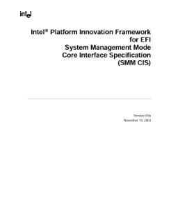 Intel® Platform Innovation Framework for EFI System Management Mode Core Interface Specification (SMM CIS