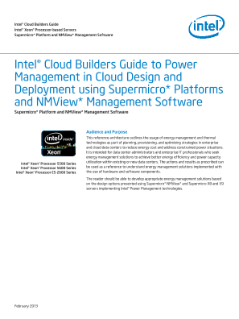 Intel® Cloud Builders Guide to Power Management in Cloud Design and Deployment using Supermicro* Platforms and NMView* Management Software