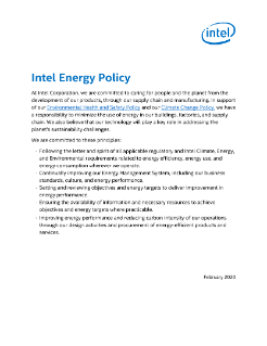 Intel Energy Policy